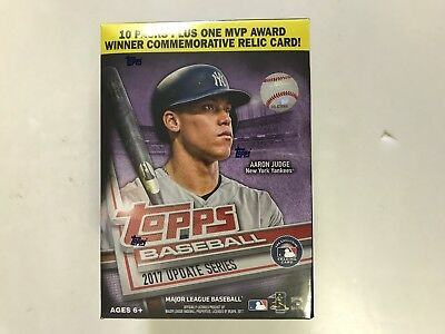 2017 Topps Update Series Baseball Blaster Box   Commemorative Relic Card