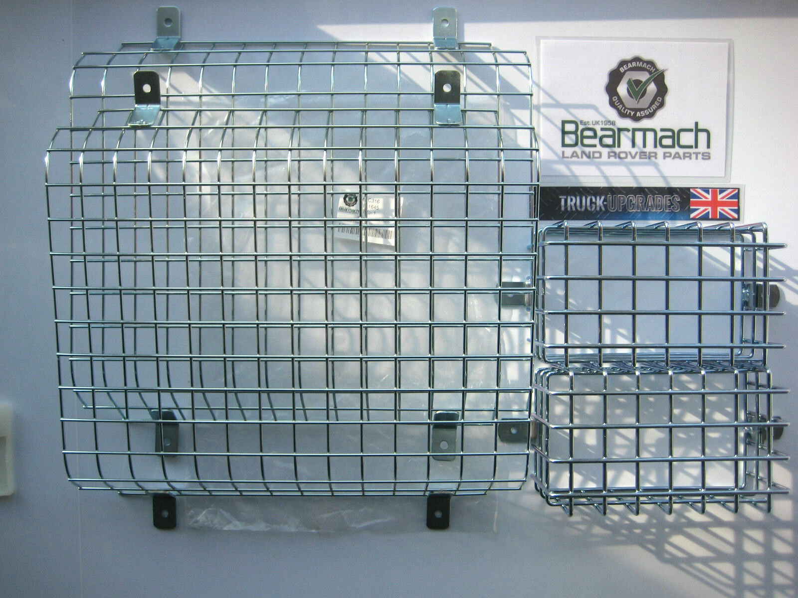 Land Rover Series 2A /& 3 Pair of Front Steel Mesh Head Light Light Lamp Guards