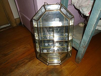Vintage Glass Curio Brass Etched Mirrored Display Cabinet Wall Table Case