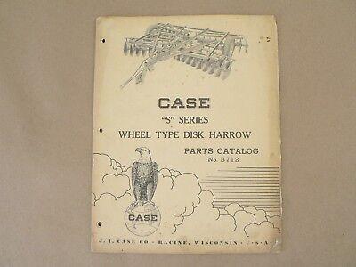 Vintage Service Parts Catalog B712 Case S Series Wheel Type Disk Harrow 1954