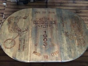 Custom Wood burnt Harley Davidson Table Set