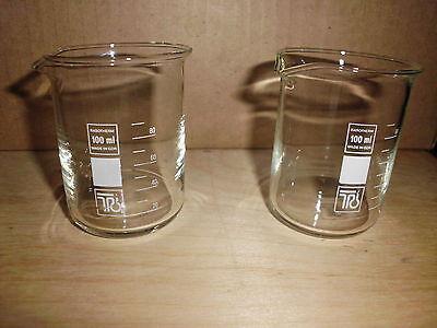 4 x  Becherglas _ Thermoglas 100mL niedr. Form, mit Ausguß Orientierungsteilung