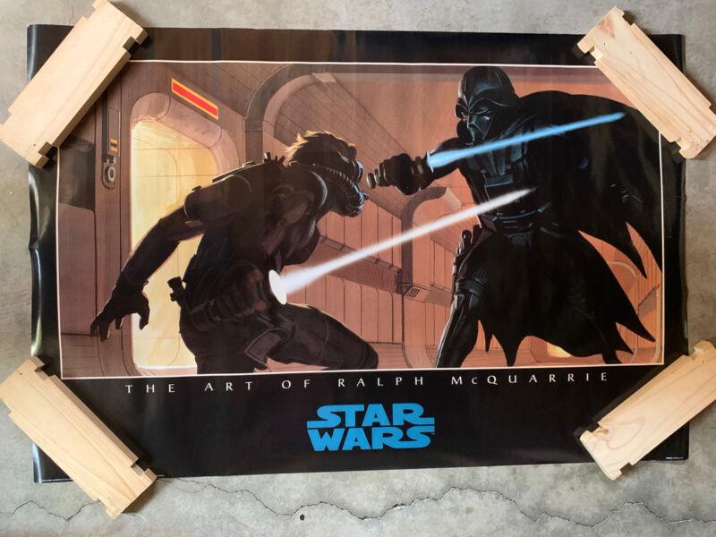 "VINTAGE - Star Wars Poster- Art of Ralph McQuarrie - 1986 36 x 24"" - Vader Luke"