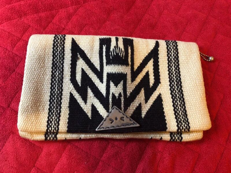 Vintage Native American Hand Woven Chimayo Purse .Ivory with Black.