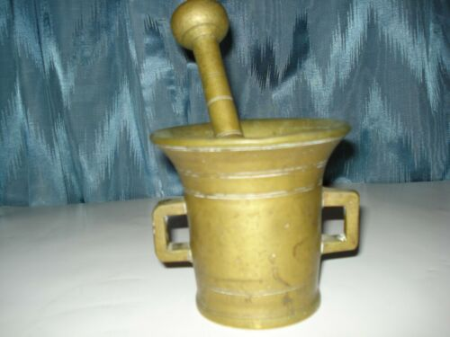 VINTAGE MORTAL AND PESTLE  WITH 2 HANDLES SOLID BRONZE  APOTHECARY USE