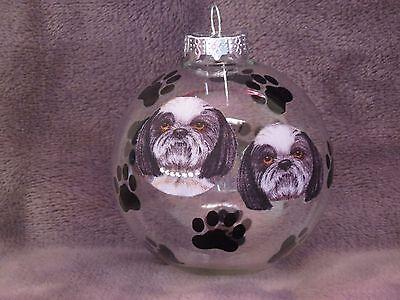 "HAND MADE SHIH TZU 3"" GLASS CHRISTMAS ORNAMENT / BALL"