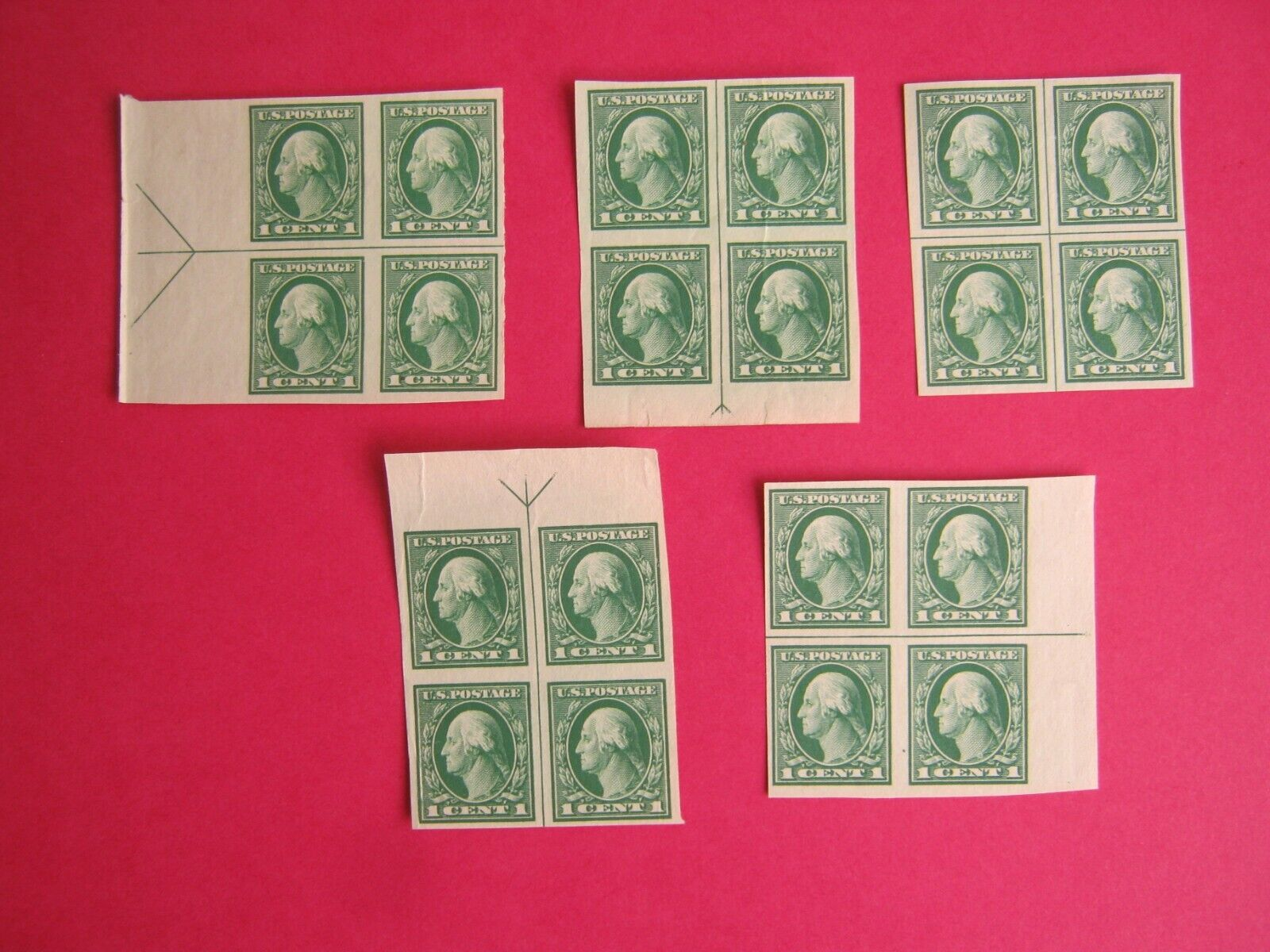 U.S. Stamp Scott 481 1c Washington Imperforate Plate Block Of 4 Lot Of 5  - $49.95