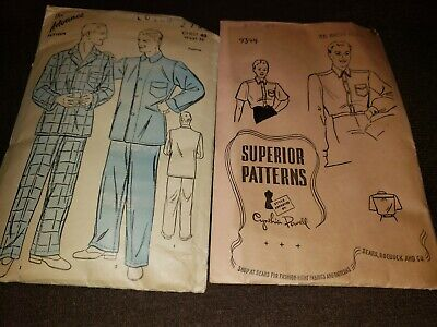 1940s Men's Shirts, Sweaters, Vests Men's Uniform? Dress Shirt Top and Pajamas Vintage Sewing Pattern Lot 1940's $17.47 AT vintagedancer.com