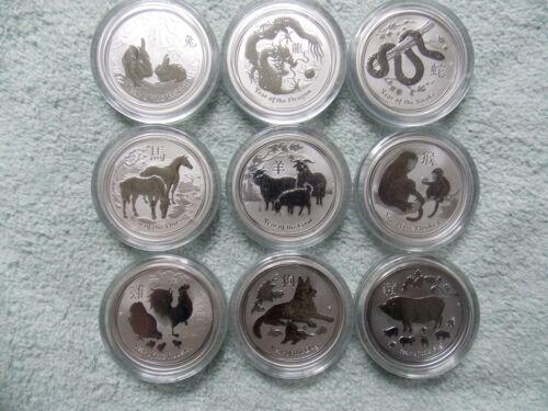 2011-12-13-14-15-16-17-18-2019 Australia Silver Lunar 1/2 OZ (9 coin Set)