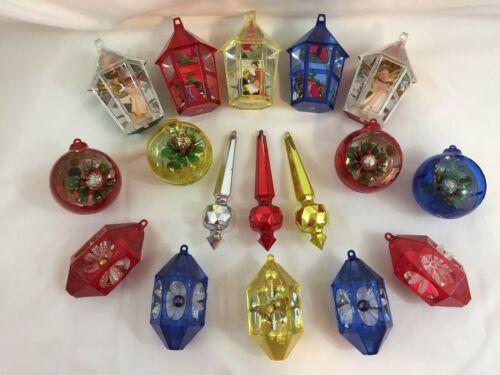 VTG Jewelbrite Shinybrite Plastic Christmas Ornaments (17) Diorama Mid Century