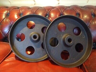 A Pair Of Industrial Cast Iron Line Shaft Pulley Cart Wheels 11.5