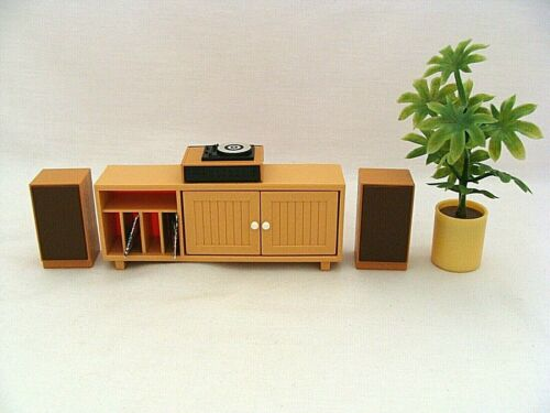 Vintage Tomy Dollhouse Miniature Stereo Turntable Speakers Stereo Cabinet Plant