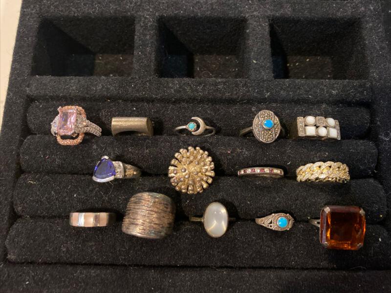 Vintage Sterling Silver LOT OF 14 Rings