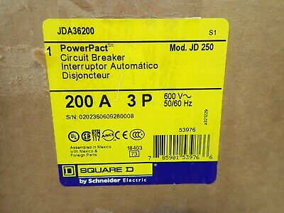 New In Box Square D Jda36200 Jd250 200 Amp 600v 3p Powerpact Circuit Breaker