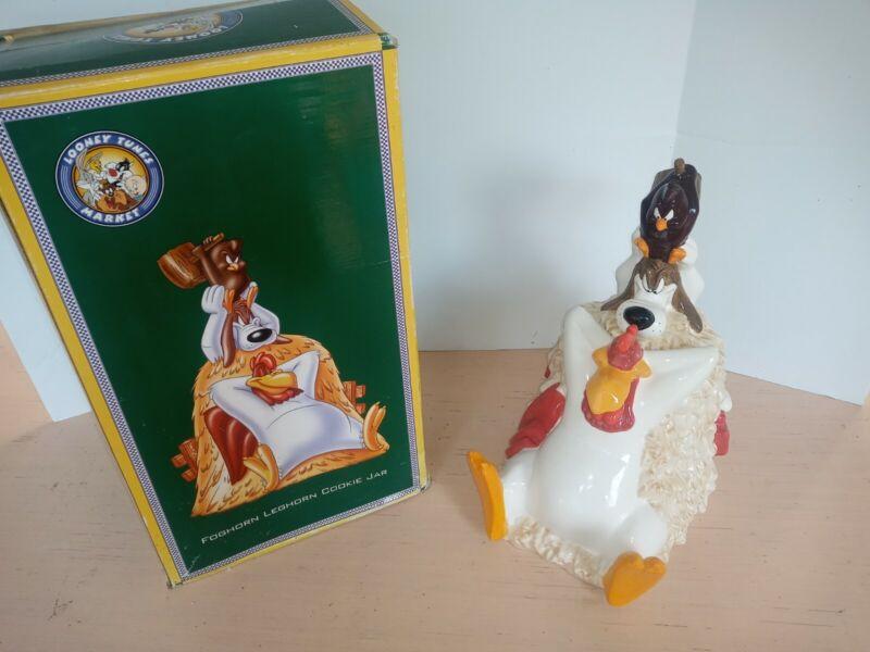 New RARE  Looney Tunes Foghorn Leghorn Henry Hawk Cookie Jar 1996 with box