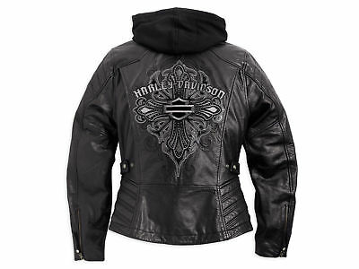 Harley Davidson Women ALEXIS Black Leather Jacket Tribal Cross 3n1 1W 97038-15VW