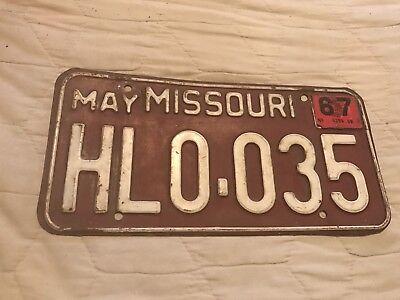 1967 Missouri  License Plate HLO 035
