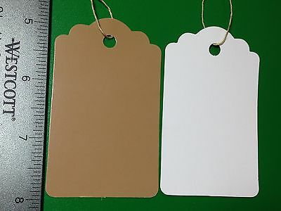 200 Large Scallop Kraft Print Paper Merchandise Price Tags Strung Brown
