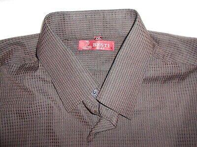 Best1 Button Down Men's Shirt Short Sleeve Size XXL Brown Fine Plaid Camp