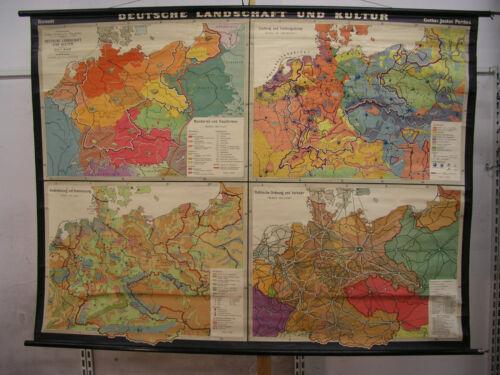 Schulwandkarte German Landscape U Culture 1938 Rich 83 1/2x63in Greater Germany