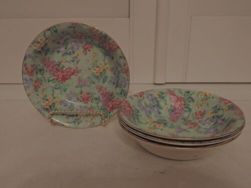 Rare! Vintage Empire Ware Chintz Lilac Time Set of 4 Bowls