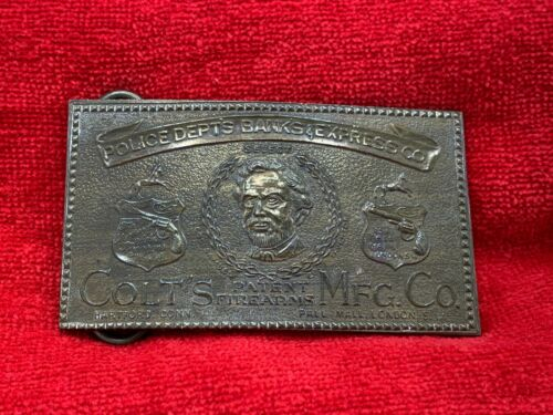 Police Dept. Banks & Express Co. A Gift from Colt - Tiffany London Brass Buckle