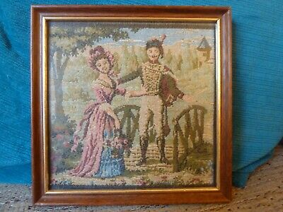 Framed French Tapestry: Couple by bridge