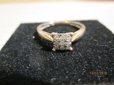 Lovely 9ct gold square diamond set ring size N 375.