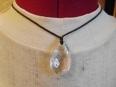 Used, BLACK CORD  NECKLACE WITH TEARDROP SHAPE CLEAR CRYSTAL TYPE STONE PENDANT for sale  Shipping to South Africa