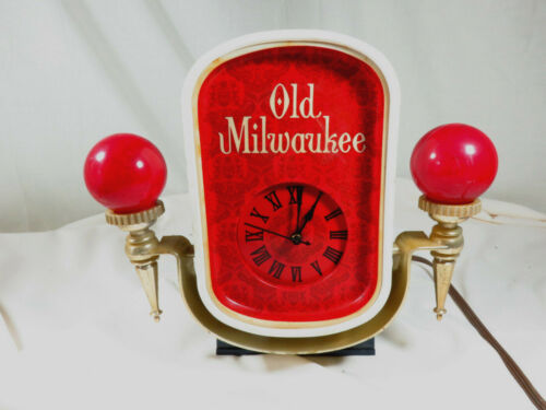 Vintage 1969 OLD MILWAUKEE BEER LIGHTED CLOCK Register Topper - PLEASE READ