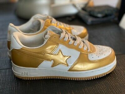 BAPE STA A Bathing Ape Gold and White Shoes, Women's size 8.5