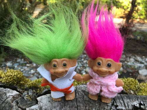 """Vintage 3"""" Troll Doll Lot with Spiral Eyes, Pink & Green Hair"""