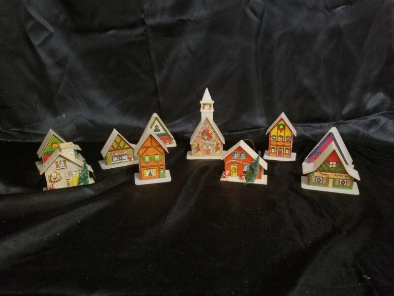 10 VTG CHRISTMAS PLASTIC ALPINE VILLAGE LIGHTED HOUSES & CHURCH