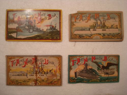 Vintage Needle Book American Army Navy set of 4 Troops Battleship lot