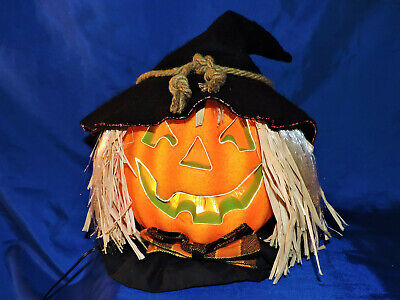 Fiber Optic Light Up scarecrow Pumpkin Head Jack-O-Lantern Fall decoration