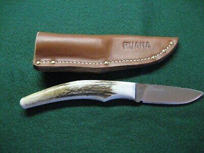 Ruana Antler Tip Knife with Sheath - File Work - New - Beautiful - 2 1/2 Blade