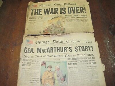 AUGUST 15 1945 APRIL 20 1951 CHICAGO DAILY TRIBUNE WAR OVER MACARTHUR HARMON