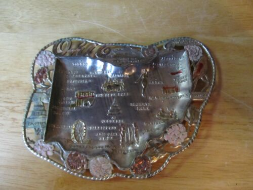Vintage OHIO Souvenir Metal Ashtray~Made in Japan~Stamped Cities & Attractions