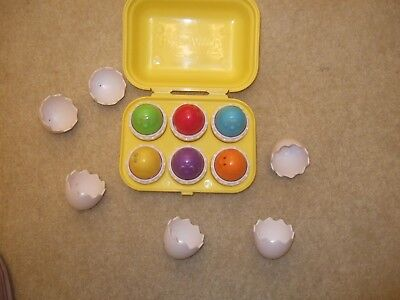 Plastic Egg Box Yellow with 6 coloured eggs for early learning ideal present