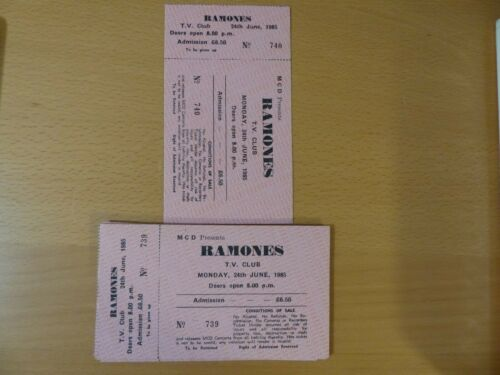 THE RAMONES 1985 UNUSED CONCERT TICKETS UK RARE! FROM JOEYS PRIVATE COLLECTION!