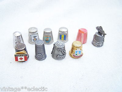 MIXED LOT METAL COLLECTABLE THIMBLES inc PEWTER and SHELL (10) ~ COUNTRIES etc..