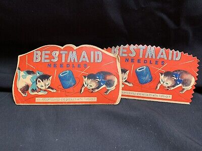 Best Maid Vintage Sewing Needle packs (2) with Cats advertising