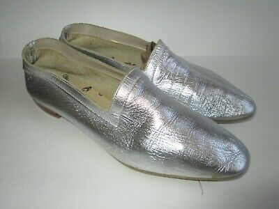 Kraus Originals girls silver leather Mary Jane slip on flats ballet shoes sz - Girls Silver Ballet Shoes