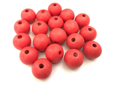 50 pcs Coral Red Wood Beads Round 20mm Bead Jewelry Making Wooden Tool Macrame