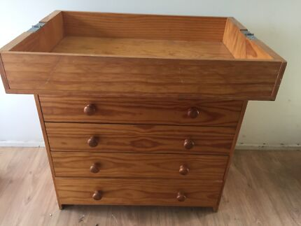 Wooden Vintage Baby Change Table With Chest Of Drawers