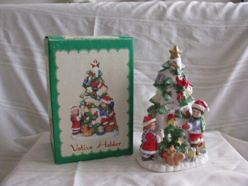 Vintage Porcelain Favorite things Christmas Tree Votive Tealight Candle Holder