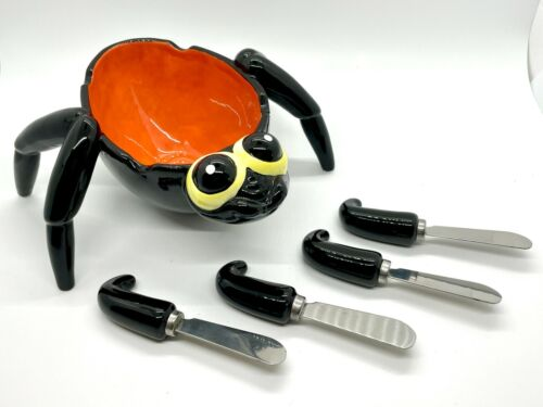 RETIRED Dept 56 Spider Dip Bowl and Spreaders Great for Halloween – MINT!