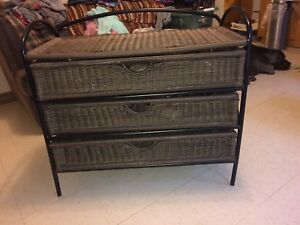 3 Drawer Faux Wicker storage cabinet thing
