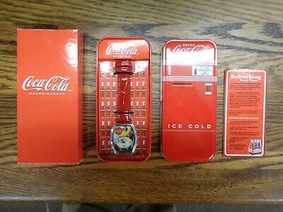 Vintage NRFB Coca Cola Wrist Watch Womens Couple Japan Movement Metal Case w/Tag