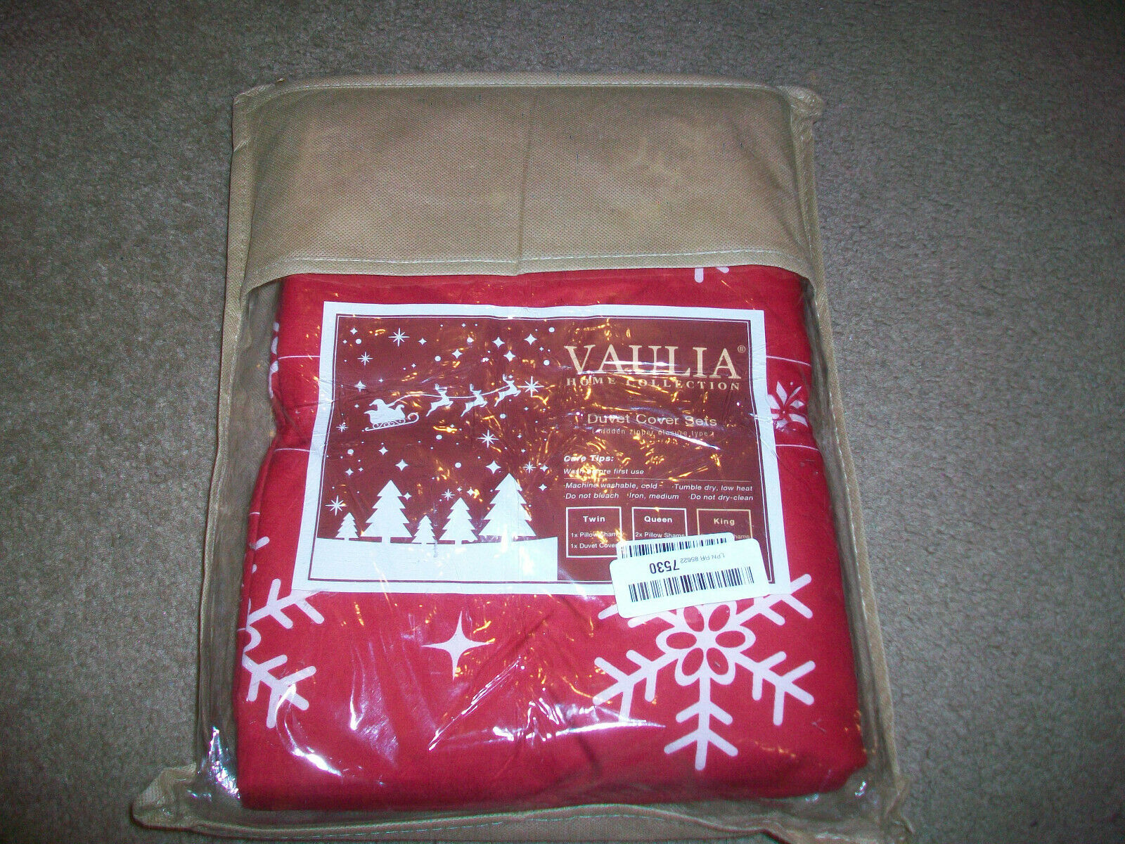 NEW Vaulia Home Collection King Size Duvet Cover Red White C
